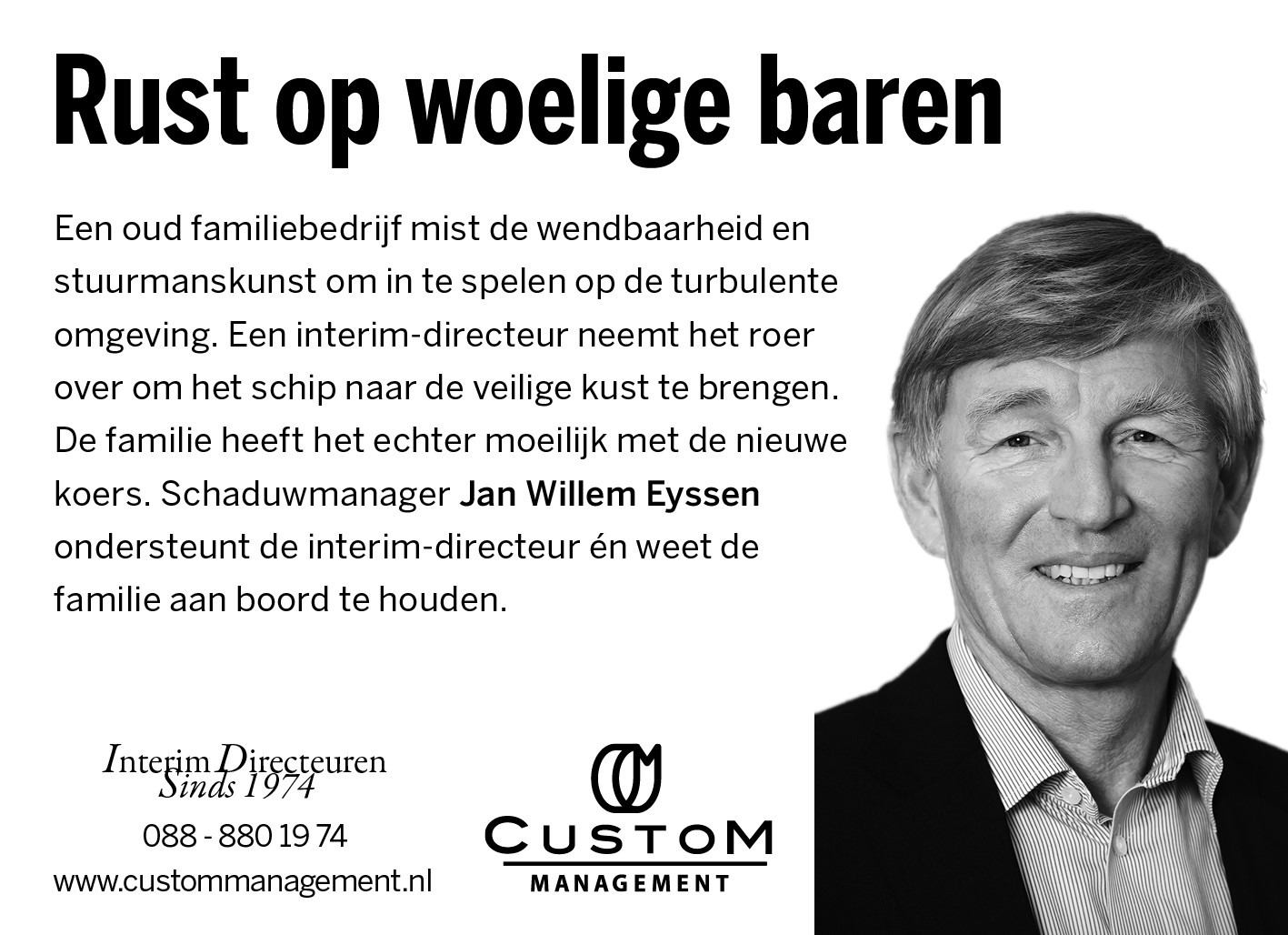 Jan Willem Eyssen Custom Management Interim Directeuren FD najaar 2018